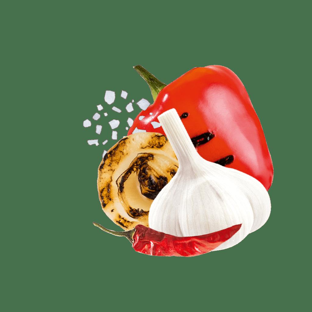 Paprika, gegrillte Zwiebel, Salz und Chili