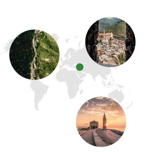 Ursprungsgebiet von Majoran auf der Weltkarte: Kleinasien