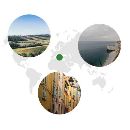 Ursprungsgebiet von Rosmarin auf der Weltkarte: Mittelmeerraum