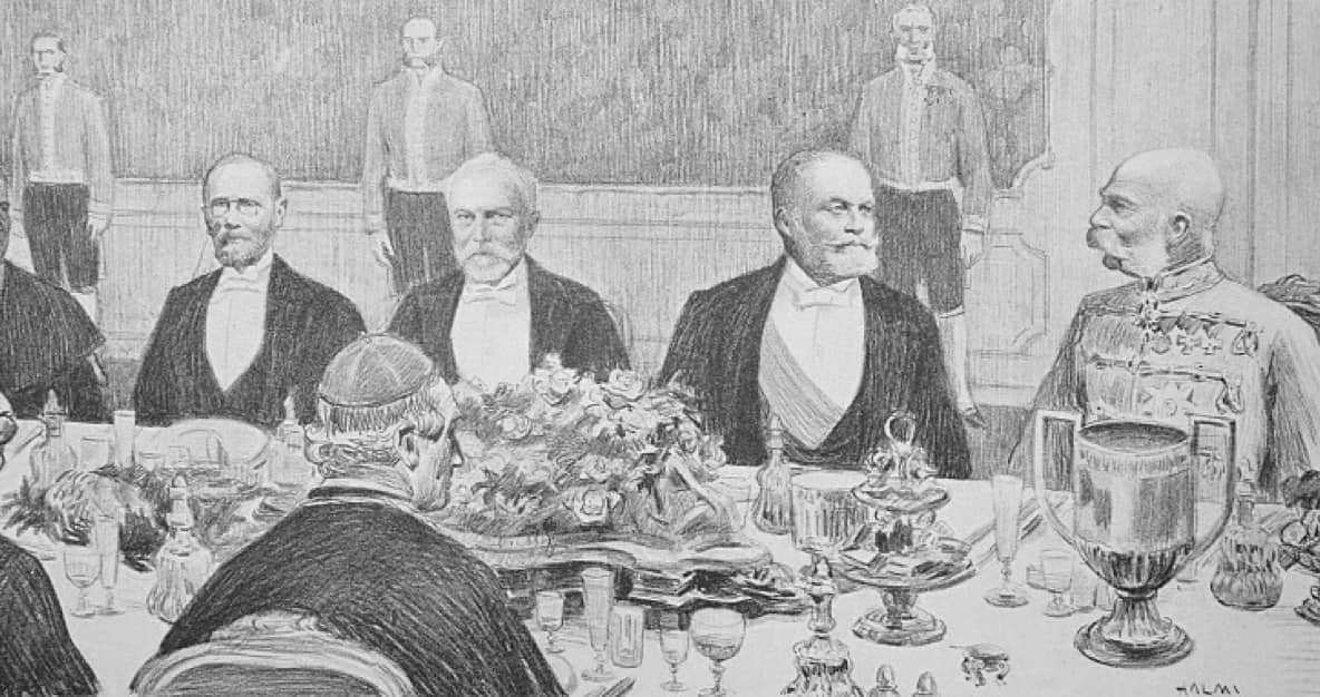 gezeichnetes Bild von einer kaiserlichen Tafel