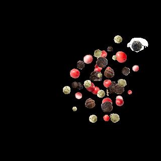 Pfeffer mit schwarzen und grünen Körnern sowie Rosa Beeren