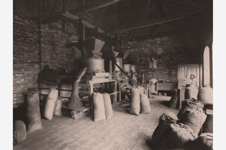 Črno-bela fotografija: vrečke mlete paprike Kotányi iz leta 1881