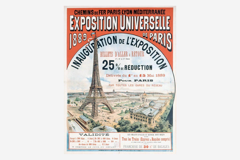 Plakat pariške razstave leta 1889 z risbo Eifflovega stolpa.