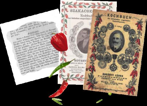 Dve platnici kuharskih knjig Jánosa Kotányija in izvleček recepta iz ene izmed knjig.