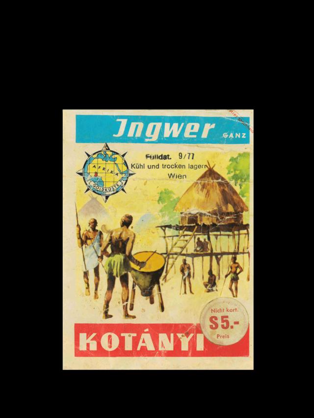 Vrečka ingverja Kotányi iz 70. let prejšnjega stoletja.