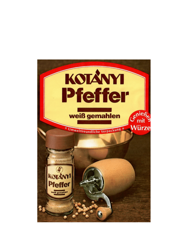 Vrečka belega popra Kotányi iz 80. let prejšnjega stoletja.