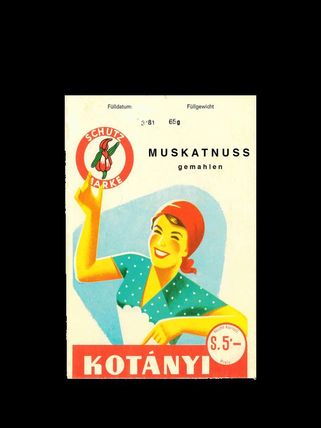 Vrečka muškatnega oreščka Kotányi iz 50. let prejšnjega stoletja.